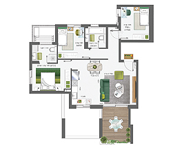 Building 4 | 4 rooms - type B | South-West