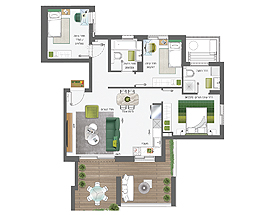 Building 5 | 4 rooms - type B | Apartment 3