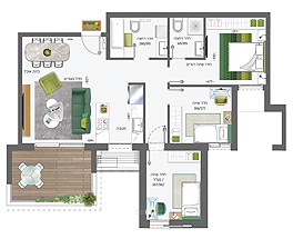 Building 4 | 4 rooms - type C | South