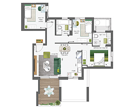 Building 5 | 4 rooms - type B | Southeast