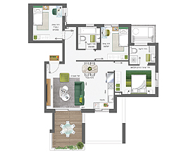 Building 4 | 4 rooms - type B | Southeast